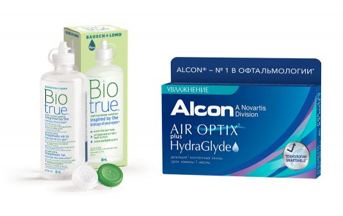 Комплект AIR Optix Plus Hydraglyde 6 шт. + Biotrue 300 мл